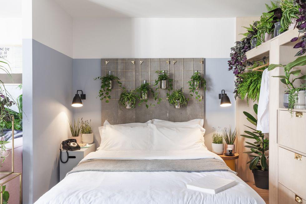 Biophillic slaapkamer met veel groen en hoofdeinde van het bed bevindt zich in nis